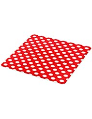 Ambesonne Retro Cutting Board, 50s 60s Iconic Pop Art Style Big White Polka Dots Picnic Vintage Old Theme Image, Decorative Tempered Glass Cutting and Serving Board, Large Size, Vermilion White
