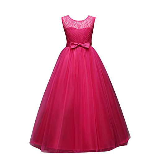 Children dress Little Big Girls'Tulle Dresses 6-14T Ruched Lace Pageant Party Fall Wedding Bridesmaid Floor Length Evening Dance Gowns Rose Red ()