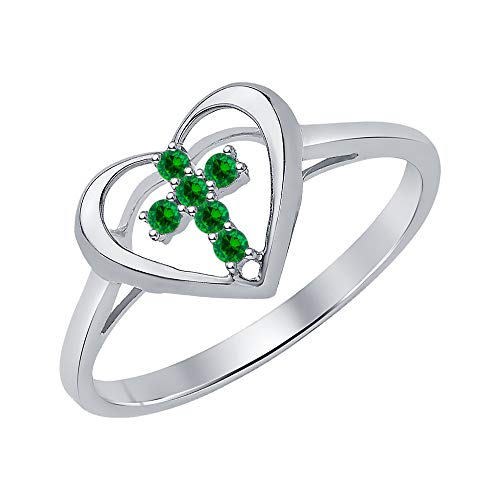 (tusakha X'Mas Special 14K White Gold Round Cut Created Green Emerald Engagement Cross in Heart Ring .925 Sterling Silver for Women's)