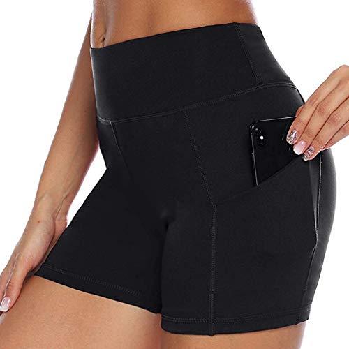 FONMA Womens Pants High Strength Quick Dry Sports Running Fitness Yoga Shorts Black