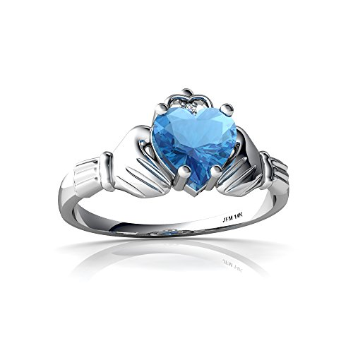 14kt White Gold Blue Topaz and Diamond 6mm Heart Claddagh Ring - Size 6.5