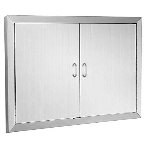 Happybuy BBQ Island Door 42 Inch Flush Mount BBQ Access Door Commercial 304 Brushed Stainless Steel for Outdoor Kitchen
