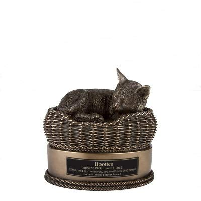 - Perfect Memorials Custom Engraved Bronze Cat in Basket Cremation Urn