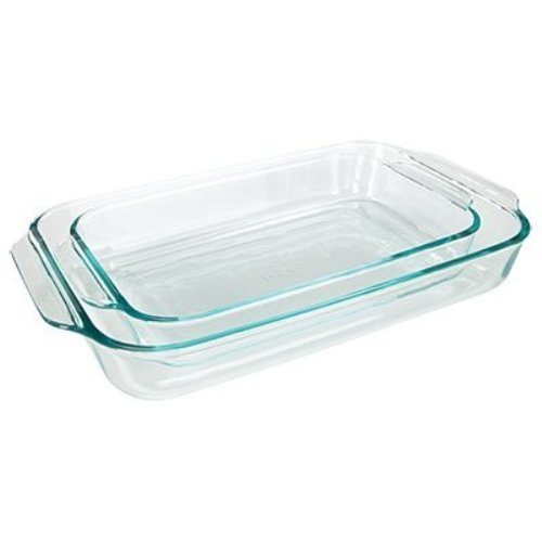 Pyrex Basics Clear Oblong Glass Baking Dishes, 2 Piece Value Plus Pack Set