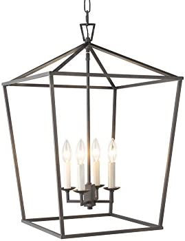 Darlana Openwork Lantern Pendant Stairway Entry Kitchen Hall Foyer Fixture Chandelier Aged Iron