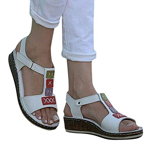 Women Peep Toe Wedge Platform Shoes T Strap Slingback Ankle Strap Vintage Ethnic Style Low Heeled Sandals by Lowprofile White