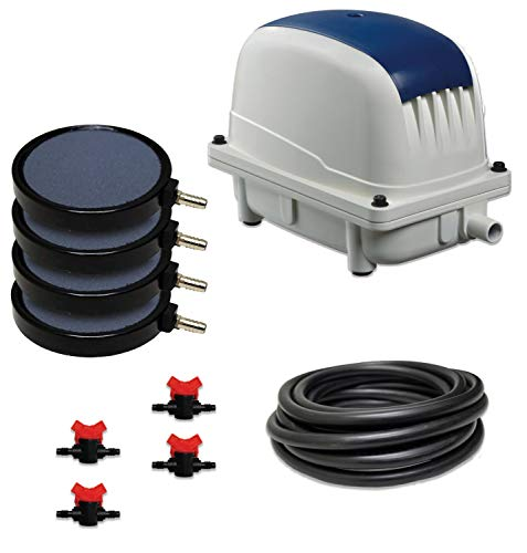 Patriot Bottom Aeration System LLS-140, LL-140 Air Pump, 50' Weighted Tubing, (4) 8