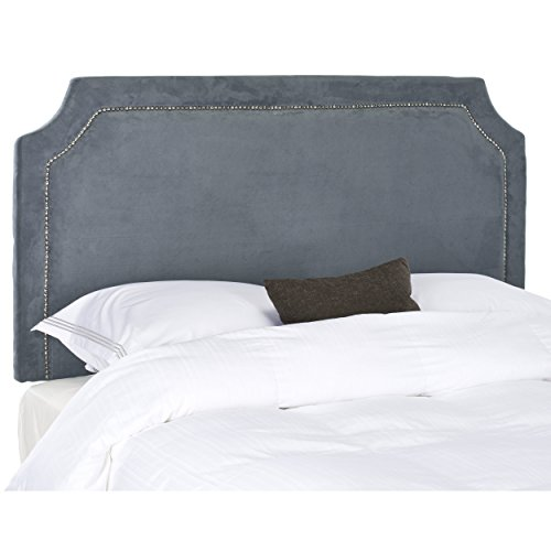Safavieh Shayne Grey Suede Upholstered Headboard - Silver Nailhead (Full) - Notched Full Headboard