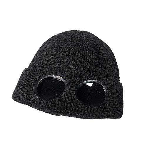 URIBAKE ❤ Fashion Unisex Beanies Glasses Knitted Wool Fleec Lining Winter Ski Warm Earmuffs Hat Caps Black
