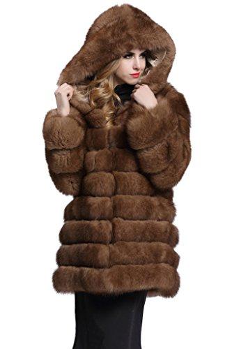 Sable Fur Coat (Topfur Women's Coat Sable Whole Fox Skin Fur Outerwear with Hat Overcoat(US 6))
