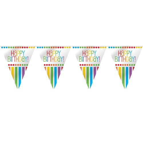 [12ft Rainbow Party Happy Birthday Pennant Banner] (Halloween Themed Costume Party Ideas)