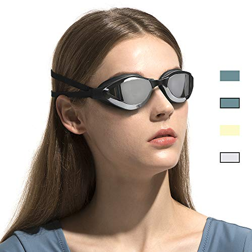 (COPOZZ Swimming Goggles, No Leaking Racing Swim Goggles for Adult Men Women Youth, Anti Fog UV Protection Lenses, Soft Silicone Frame and Strap, Interchangeable Nose Bridges (3910-Silver Mirror Lens))
