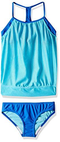 Speedo Girl's Blouson Tankini 2-Pc, Azure Aqua, -