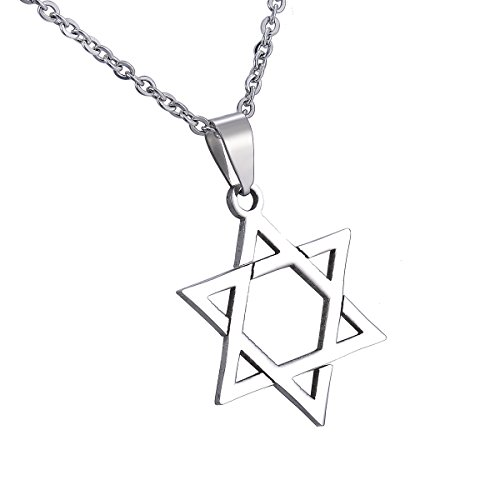 HooAMI Star of David Pendant Necklace Stainless Steel Jewish Jewelry for Men Women Religious