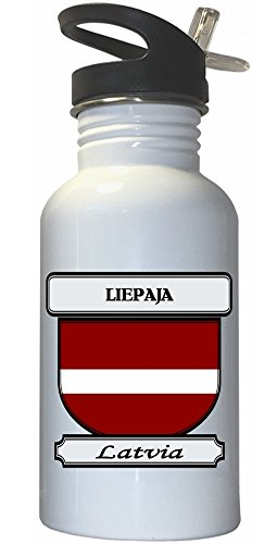 Liepaja, Latvia City White Stainless Steel Water Bottle Straw Top