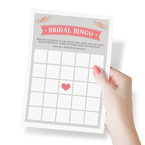 Bridal Shower Bingo Game | Wedding and Bridal Shower Favors, Activities, Games, and Decorations | 50 Sheets - Blank Bingo Cards