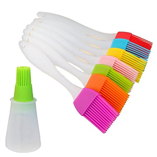 8 PCS Silicone BBQ Grill Brasting Brush Set with Oil Bottle Brush for Pastry Barbecue Desserts Baking by Wang Rong