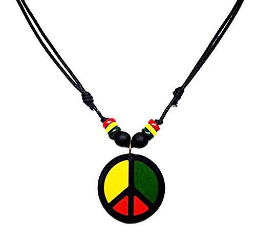 (LAVIP Leather Peace Symbol Wood Necklace - Rasta plaide Hippie Braid Hemp Hawaiian Peace Sign Pendant)