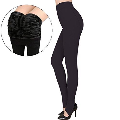Tulucky Womens Velvet Lined Yoga Pants High Waist Slimming Elastic Tights Leggings (Black) (Velvet Pants Washable Womens)