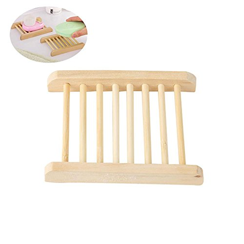 AOLVO Natural Wood Soap Tray Holder,Soap Saver Holder Storag