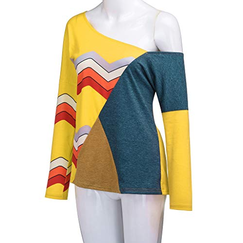 Jointif Pull Lâche Jaune Rond Couleur Automne Manches shirt Col Longues Chic Rayures 1 Tops Blouse Tricot binggong Casual T Tunique Sweatshirt Hiver Femme pwSTSxPqF