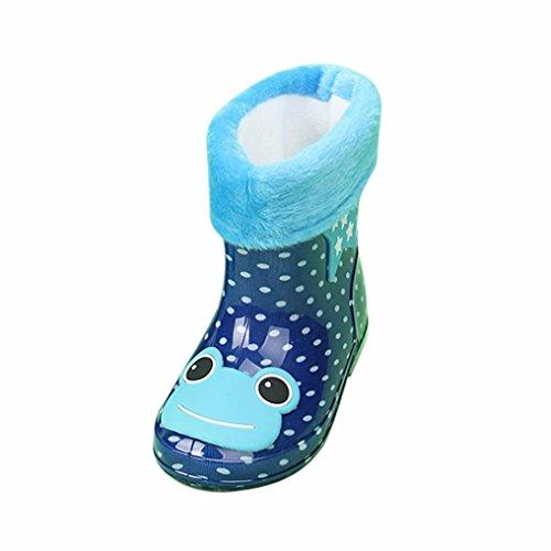 SYY 2-6 Jahre alt Kind wasserdicht Tier Gummi Infant Baby Regen Stiefel Kinder warme Regen Schuhe Dunkelblau