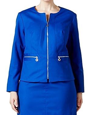 Calvin Klein Women's Plus Zip-Up Blazer jacket Blue 16W