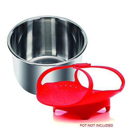 Steamer Basket Assembly (Instant Pot -Compatible Steamer Basket - Durable, BPA-Free Silicone - Perfect for All 5, 6 and 8 Quart/Qt Instapot/Insta Pot Pressure Cooker Models - By Impresa Products)