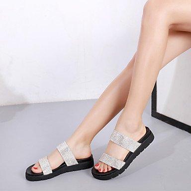 RUGAI-UE Moda de Verano Mujer sandalias casuales zapatos de tacones PU Confort caminar al aire libre,Champagne,US8.5 / UE39 / UK6.5 / CN40 Silver