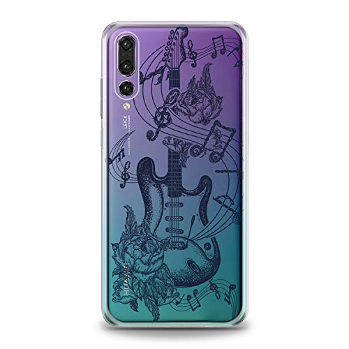 (Lex Altern TPU Case for Huawei P30 Pro P20 Lite P10 P9 Plus Mate 20 Clear Floral Guitar Art Pattern Amazing Black Cover Soft Silicone Special Dot Work Print Protective)