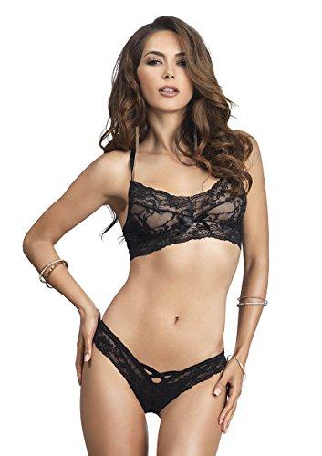 (Leg Avenue Women's 2 Piece Lace Halter Bralette and Cut Out Thong, Black, One Size)