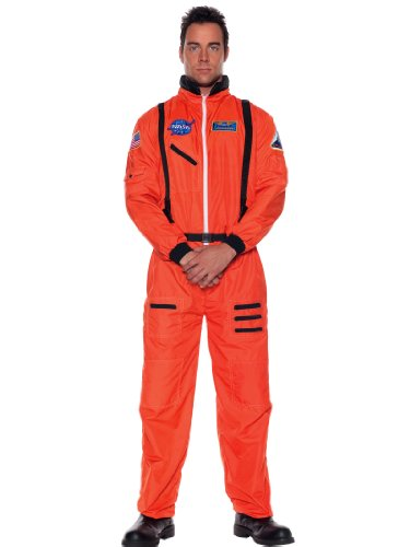 NASA Astronaut Costume Jumpsuit Hero Orange Space Man Capt Theatrical Mens Sizes: (Funny Space Costumes)