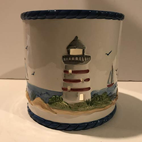 Waxcessories Lighthouse Design Large Ceramic Candle Jar Holder