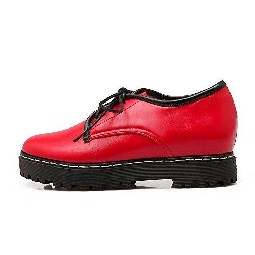 Amoonyfashion Femme Lacets Talons Bas Pu Solide Ronde Bout Fermé Pompes-chaussures Rouge
