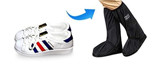 With Relectors Waterproof Reusable Motorcycle Cycling Rain Boot Shoes Covers Black S by JUESS (Image #7)