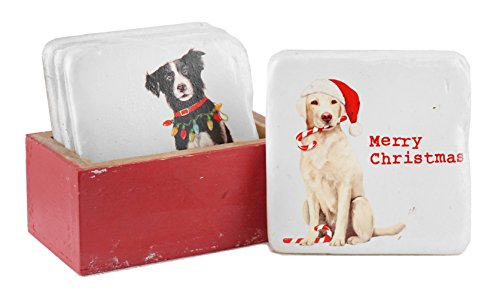 Holiday Dogs with Saying Coaster Set with Box Holder ()