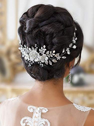 Barogirl Silver Wedding Flower Hair Vine Pearl Bride Bridal Headbands Crystal Hair Accessories for Women