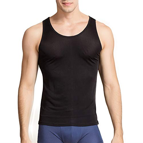 (Manka Vesa Men's 100% Pure Silk Knitted Sleeveless Undershirts Slim Casual Crewneck Tank Tops)