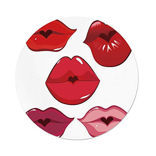 Polyester Round Tablecloth,Kiss,Woman Sexy Lip Heart Shape Kiss Female Valentine Affection Amour Make Up Decorative,Red Rose Pink White,Dining Room Kitchen Picnic Table Cloth Cover,for Outdoor Indoor