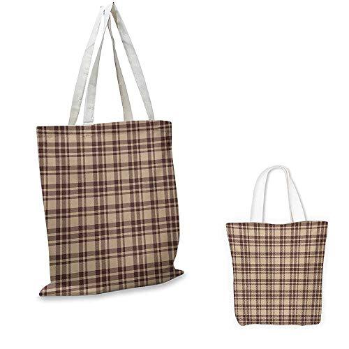 (Tan and Brown,Women Fashion Handbag Old Fashioned Check Plaid Pattern Scottish Tartan Inspired Geometric Design Reusable Shopping Bag Tan Brown 16.5