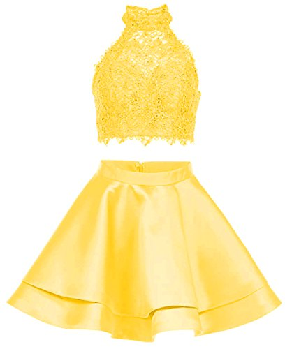 2 Lace Yellow Homecoming BRL01 Party Short Dresses Halter Gowns Lemon Neck High Prom Pieces xqnwpCR4