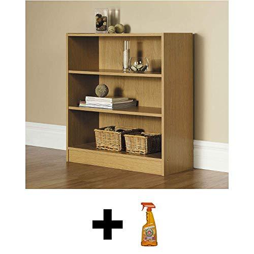 Mainstay` 3-Shelf Wood Bookcase, Natural Oak + Free Furniture Polish