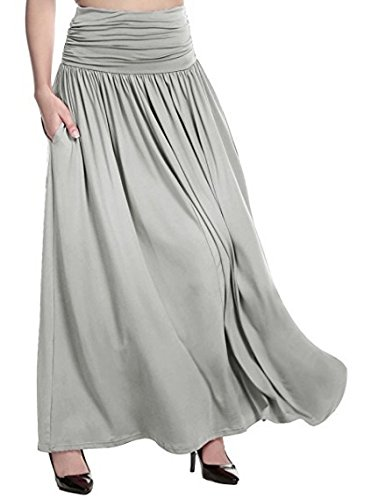 well-wreapped wangxiyan Plus Size Womens High Waist Maxi Skirts Casual Pure Color Flare Long Dress