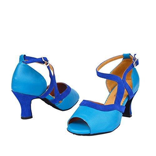 GUOSHIJITUAN Women's Chaussures De Danse Latine,High Heels Chaussures De Danse Peep-Toe Fond Mou Chaussures De Danse De Salon A