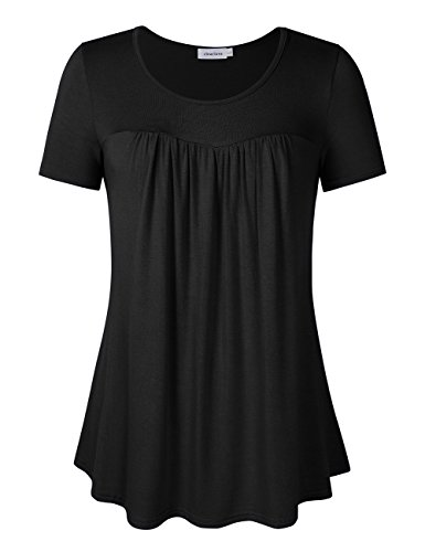 (Clearlove Women's Tops and Blouses Short Sleeve Scoop Neck Plus Size Pleated Tunic T Shirt Short Sleeve Black Large)