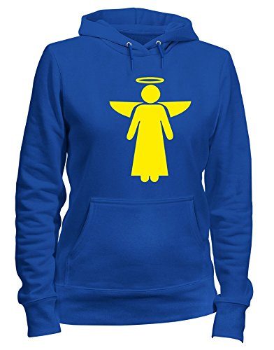 Donna Royal SYMBOL ANGLE FUN0595 Blu Shirtshock Cappuccio Felpa T qSOEZO