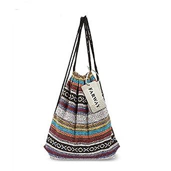 Amazon.com: Unisex Canvas Drawstring Bag Ethnic Knit Bohemia ...