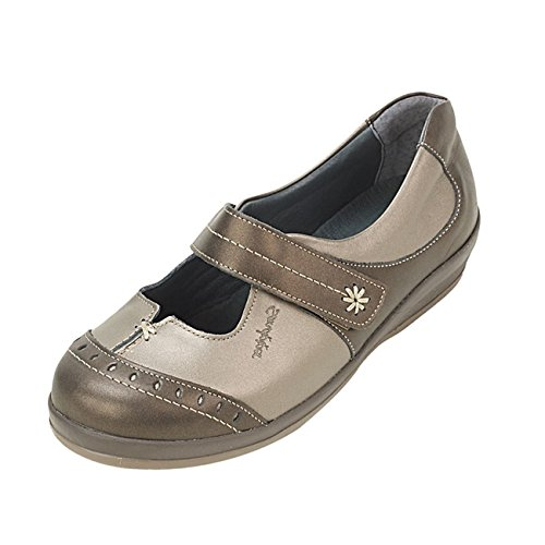 Front Low Sandpiper Long In 4e Width Cut Wide Bar Shoe 'filton' Adjustable Single Fit System Women's pewter Bronze 3 6e Touch Extra Fastening 1 8Wq8Trvw