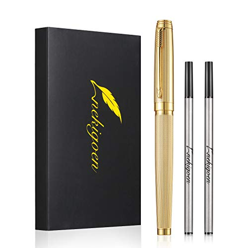 Nekigoen Rollerball Pen for Men Women Luxury Metal Executive Pens Home Office Use, with Perfect Gift Box and 2 Extra Refills Black Ink 0.7mm G2 (Gold)