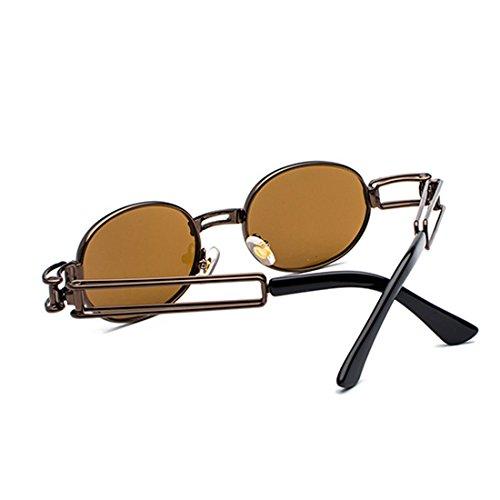 transparente ovales metal de señoras Gafas Inlefen Marrón hombres de de marco sol de lente Gafas los de gafas Lentes de redondas v5qw8